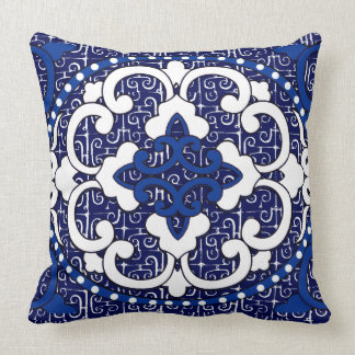 Vintage China Version II in Blue and White Throw Pillow