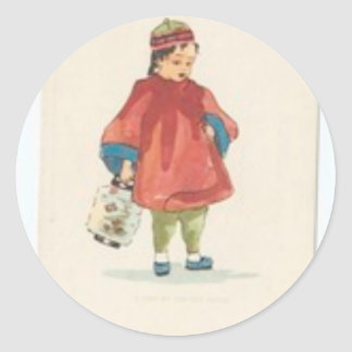 Vintage Chinese Illustration Round Sticker