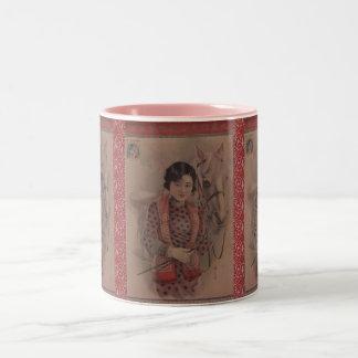 Vintage Chinese postcard mug