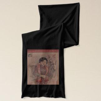 Vintage Chinese postcard scarf