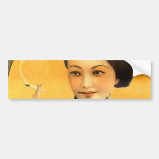 vintage chinese poster old shanghai woman bumper sticker