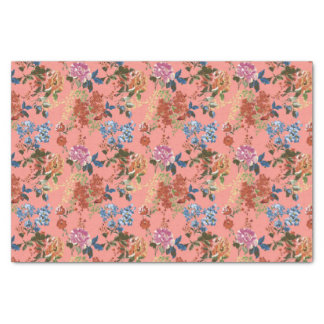 Vintage Chintz Floral Pattern on Coral Background Tissue Paper