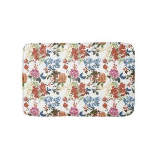 Vintage Chintz Floral Pattern Red Blue Pink Flower Bathroom Mat
