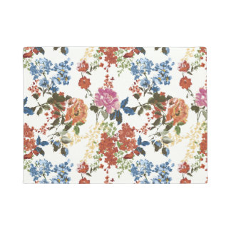 Vintage Chintz Floral Pattern Red Blue Pink Flower Doormat