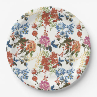 Vintage Chintz Floral Pattern Red Blue Pink Flower Paper Plate