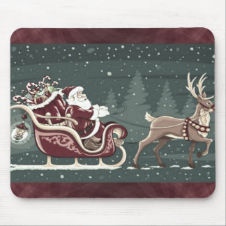 Vintage Chirstmas Santa Claus with sleigh decor Mouse Pad