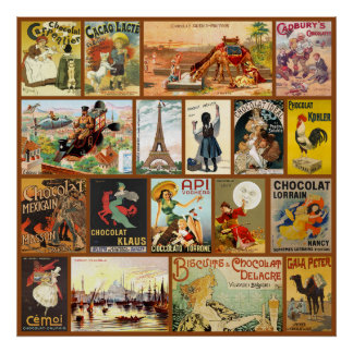 Vintage Chocolate Advertisements Poster