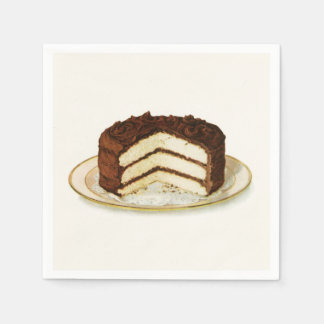 Vintage Chocolate Iced Layer Cake Paper Napkin