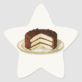 Vintage Chocolate Iced Layer Cake Star Sticker