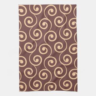 Vintage Chocolate Swirl in Golden Peach Kitchen Towel