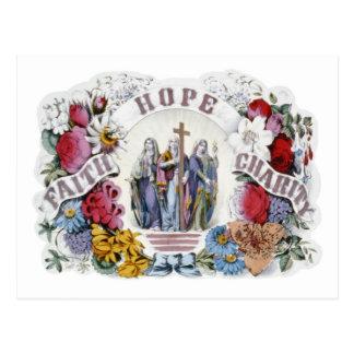 Vintage Christian Art Faith Hope Charity 1874 Postcard