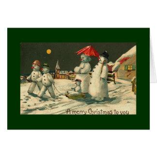 vintage christman snowman card
