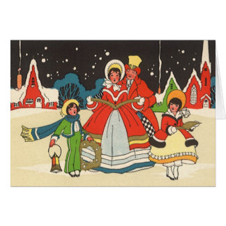 Vintage Christmas, a Family Singing Music Carols Card