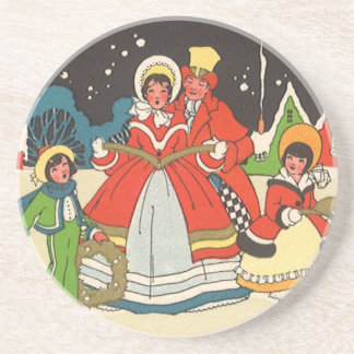 Vintage Christmas, a Family Singing Music Carols Drink Coasters