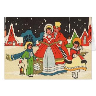 Vintage Christmas, a Family Singing Music Carols Greeting Card