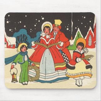 Vintage Christmas, a Family Singing Music Carols Mouse Pad