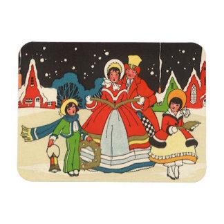 Vintage Christmas, a Family Singing Music Carols Rectangular Photo Magnet