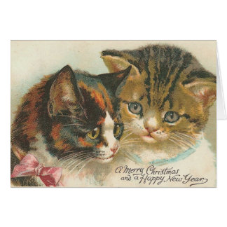 Vintage Christmas and New Year Cats Card