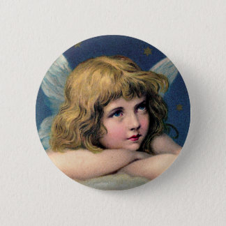Vintage Christmas Angel and Gold Stars 2 Inch Round Button
