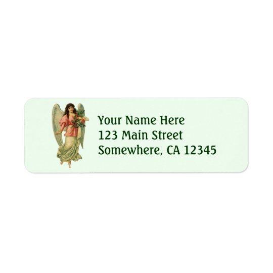 Vintage Christmas Angel, Angelic Victorian Die Cut Return Address Label
