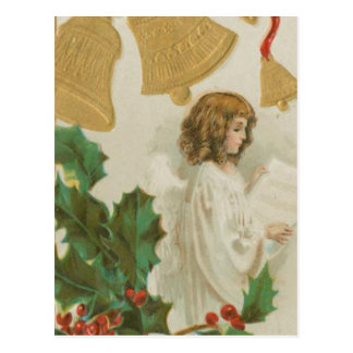 Vintage Christmas Angel, Bells and Holly Postcard