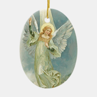 Vintage Christmas Angel Fine Art Ceramic Ornament