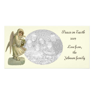 Vintage Christmas Angel Flowers, Victorian Die Cut Card