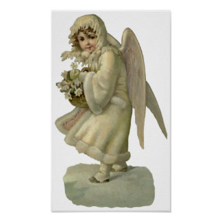Vintage Christmas Angel Flowers, Victorian Die Cut Poster