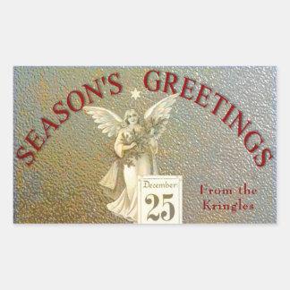 Vintage Christmas Angel Gold Season's Greetings Sticker