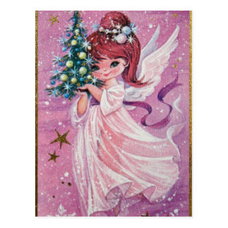 Vintage Christmas Angel Holding Tree Postcard