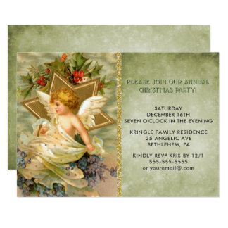 Vintage Christmas Angel Holiday Party Invitation