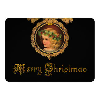 Vintage Christmas Angel in Gold Holly Frame Card