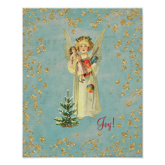 Vintage Christmas Angel Joy Poster