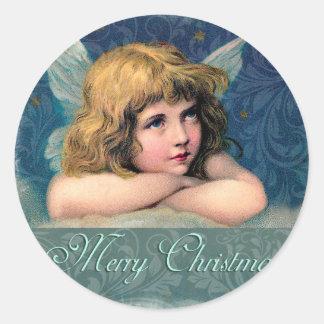 Vintage Christmas Angel Round Sticker