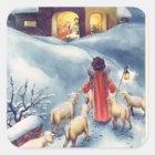 Vintage Christmas Angel Shepherd Nativity Square Sticker