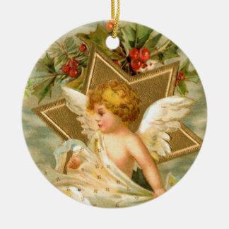 Vintage Christmas Angel Star Ceramic Ornament