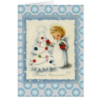 Vintage Christmas Angel & White Tree Card