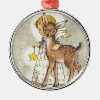 Vintage Christmas Angel With Baby Deer Metal Ornament