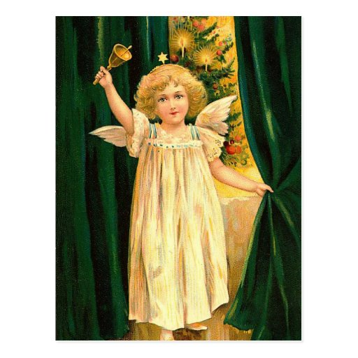 Vintage Christmas Angel With Bell Postcards