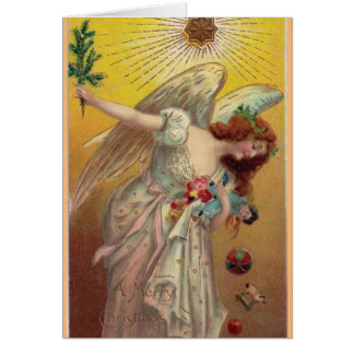 Vintage Christmas Angel With Doll Card
