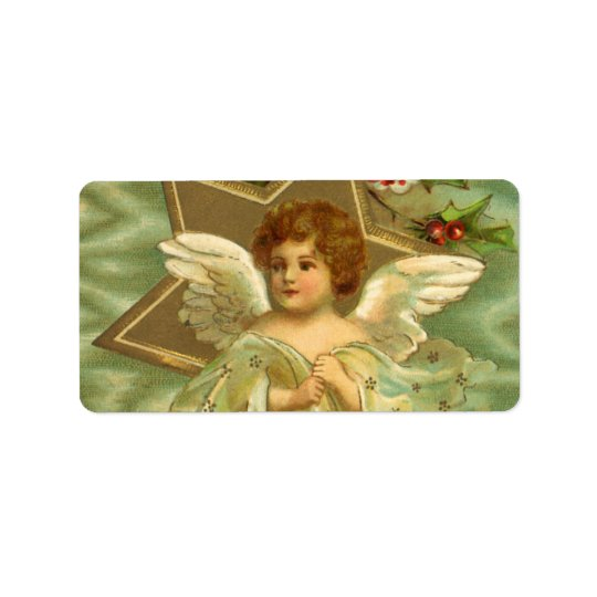 Vintage Christmas Angel with Gold Stars