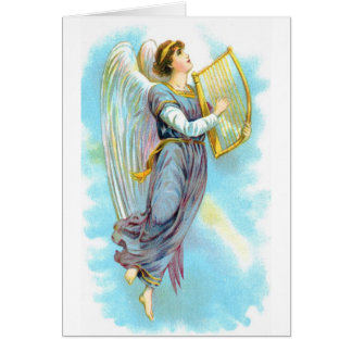 Vintage Christmas Angel with Harp Card