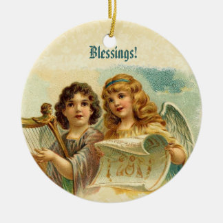 Vintage Christmas Angels Playing Harp Ceramic Ornament