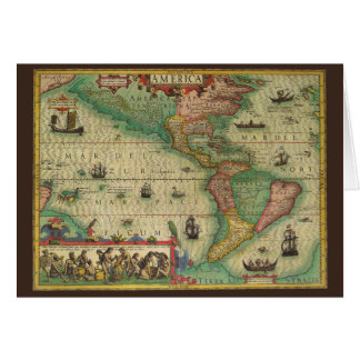 Vintage Christmas, Antique Old World Map Card