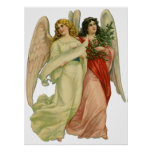 Vintage Christmas, Antique Victorian Angel Die Cut Poster
