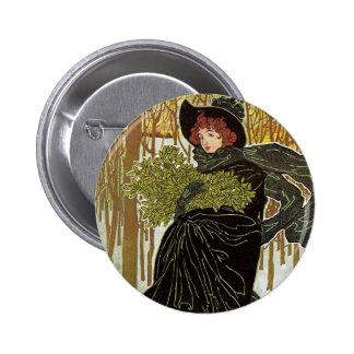 Vintage Christmas Art Nouveau Scribners Cover 1895 Button