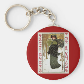 Vintage Christmas Art Nouveau Scribners Cover 1895 Basic Round Button Keychain