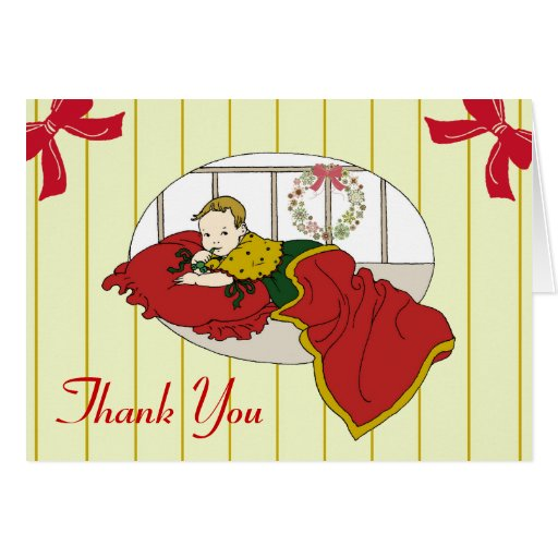 Vintage Christmas Baby Shower Thank You Cards