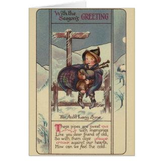 Vintage Christmas Bagpipes Christmas Card