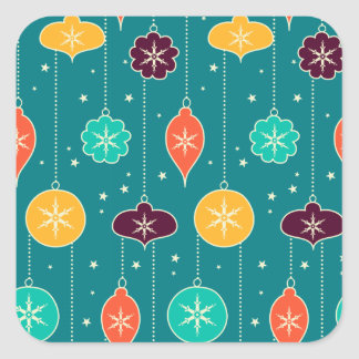 Vintage Christmas balls pattern Square Sticker